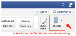 Dictation feature in Word
