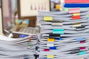 closeup stack of paperwork