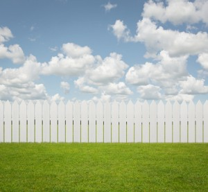 white picket fence with green grass in front and blue sky above