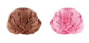 photo of strawberry + chocolate ice cream scoops