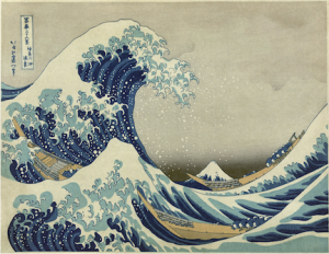 Japanese print of tsunami