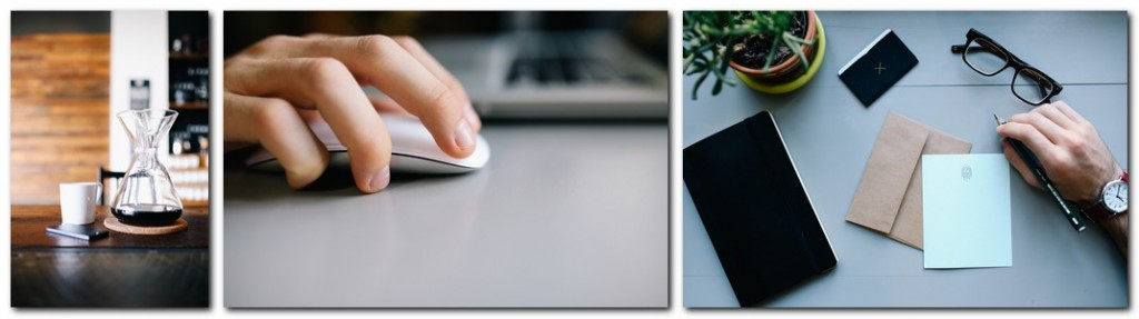 3 sample stock photos depict whats available at this site; wine carafe, hand on computer mouse, hand holding pen with envelope, glasses and phone on table