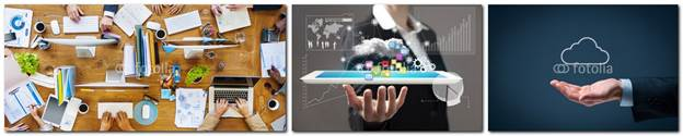 3 sample photos depict hands on desk, holding a tablet and cupped under a cloud image