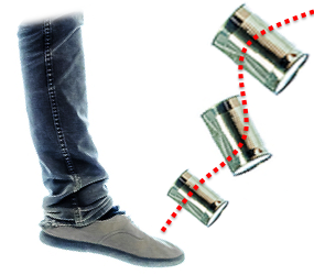photo of foot kicking tins cans to symbolize repurposing a white paper