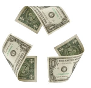 collage of three $ 1bills forming the recycling logo