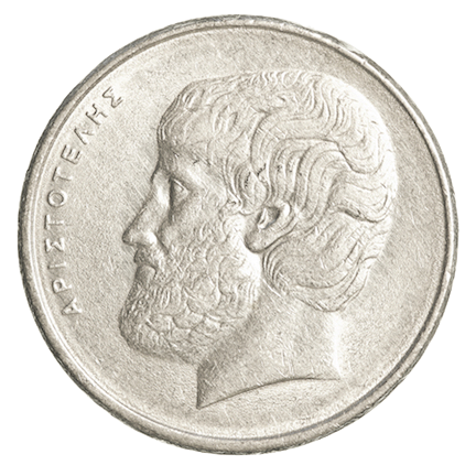 head of Aristotle on ancient Greek coin