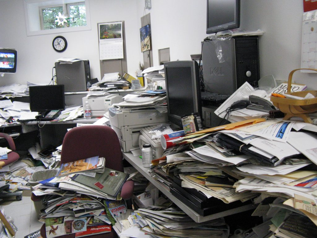 messy, unorganized office