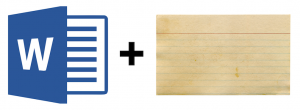 logo for Microsoft Word plus photo of index card