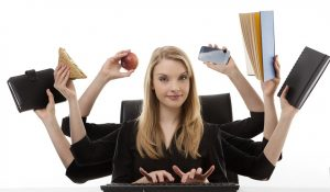 woman multitasking with 8 arms - from our writing tips; don't multitask
