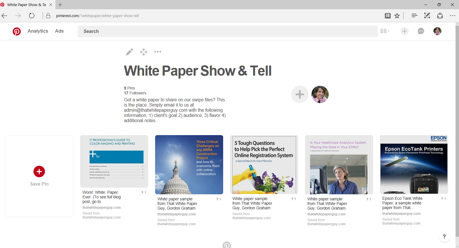 Screenshot-White Paper-Show and Tell-Pinterest board