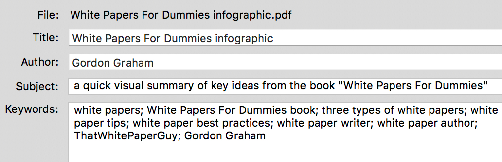 screenshot of metadata in a PDF