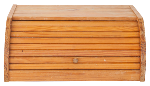 photo of wooden breadbox closed