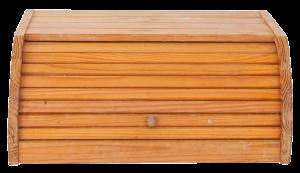 photo of wooden breadbox closed