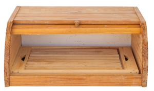 photo of wooden breadbox open