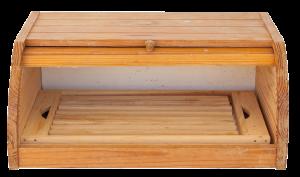 photo of wooden breadbox open