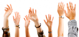 photo of many hands in the air