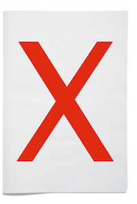 graphic of white paper with an X across it