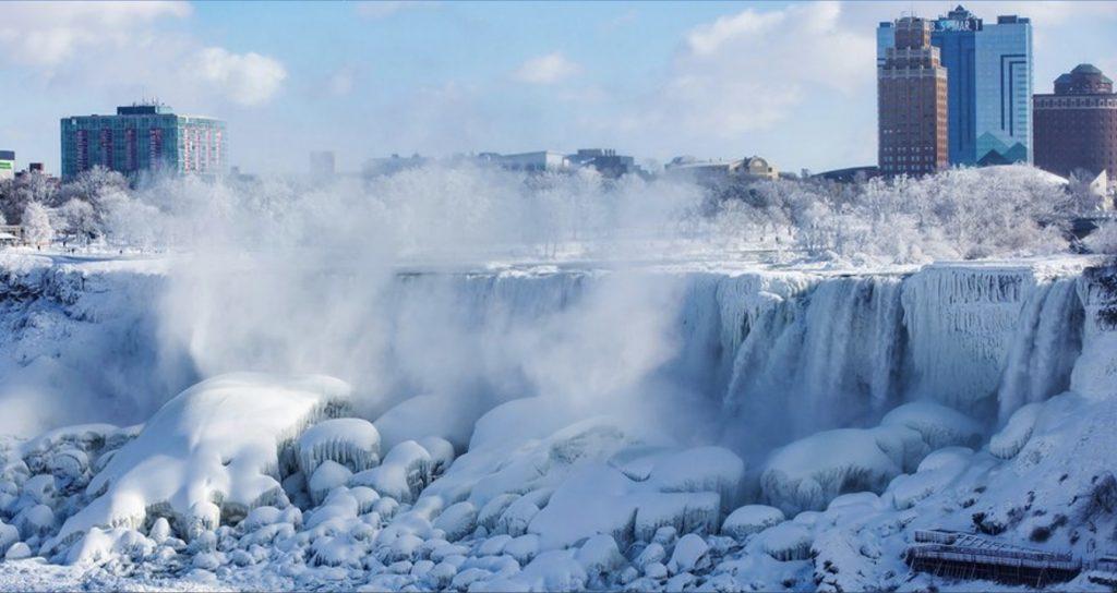 photo of Niagara Falls frozen by polar vortex