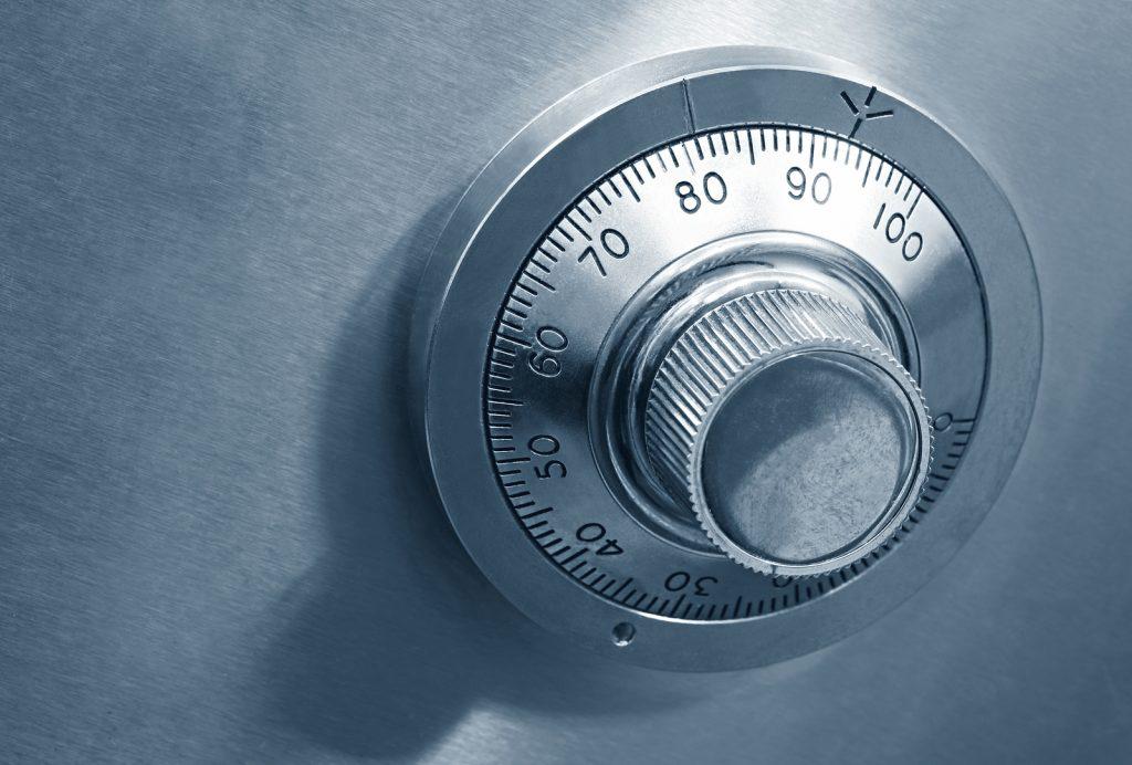 photo of combination safe lock
