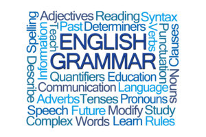 word cloud about English grammar
