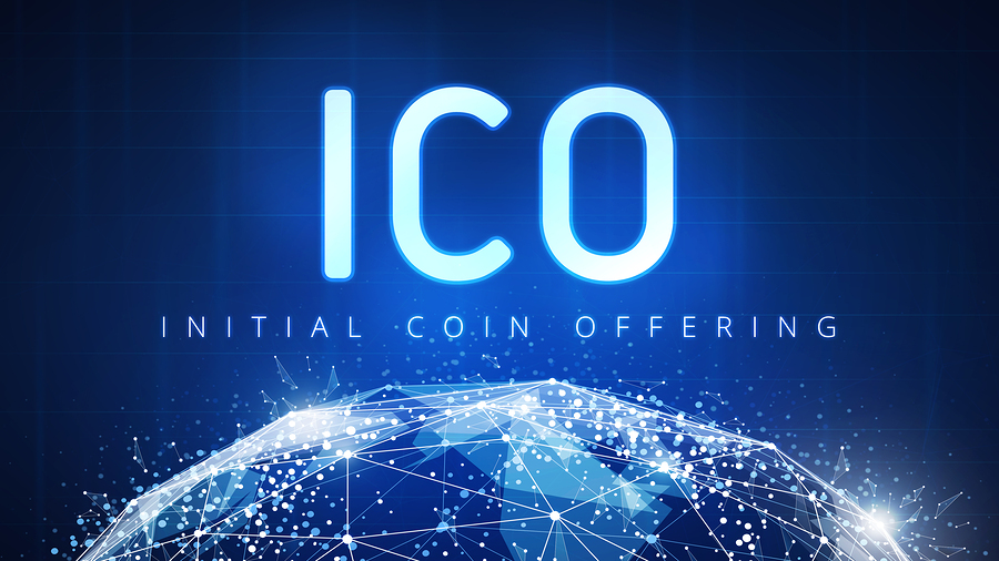 graphic showing ICO letters over a stylized world