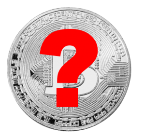 Photo of silver Bitcoin with red question mark superimposed