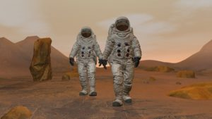 3D rendering. Colony on Mars. Two Astronauts Wearing Space Suit Walking On The Surface Of Mars. Exploring Mission To Mars. Futuristic Colonization and Space Exploration ConceptCG Animation. Elements of this image furnished by NASA.