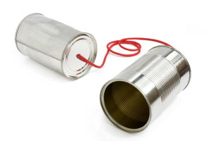 tins cans connected by red string