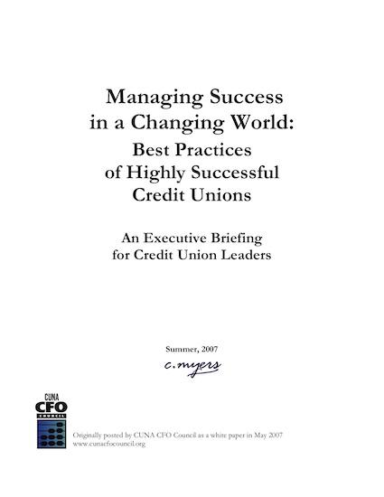 Managing a credit union
