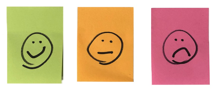smiley faces to signify white paper ratings: green orange red