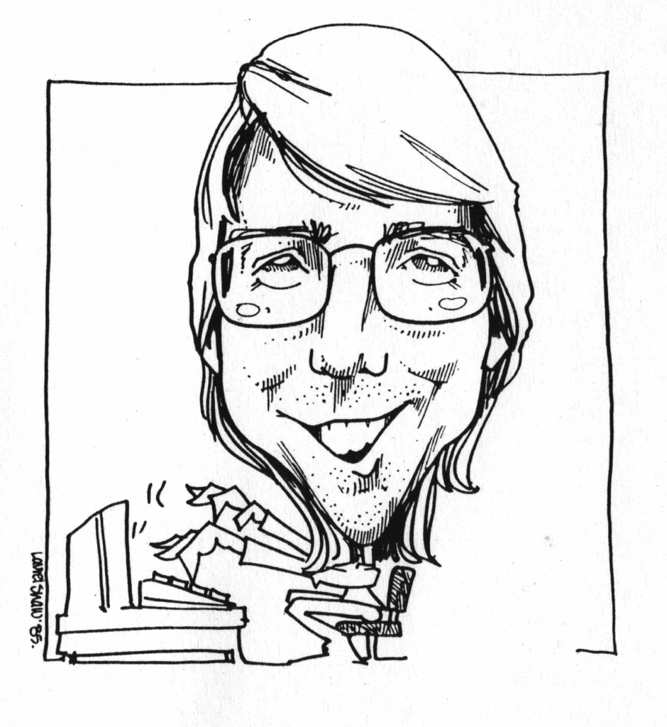 cartoon of That White Paper Guy circa 1985