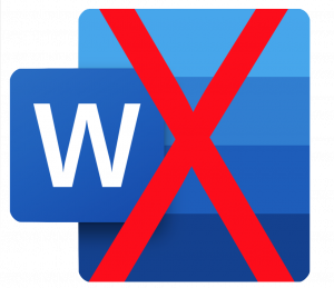 Microsoft Word symbol with red X